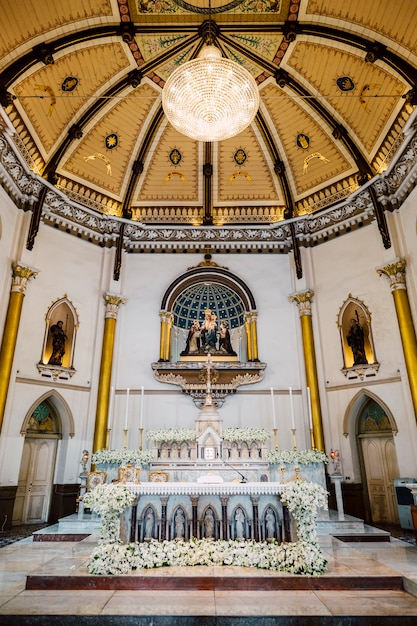 Inside church with beautiful ceiling in thailand Free Photo