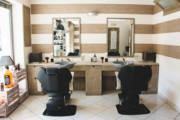 Inside hairdressing salon Premium Photo