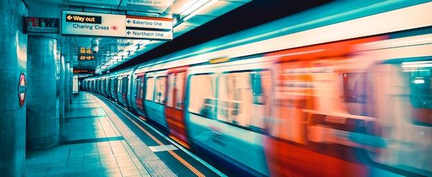 Вид изнутри лондонского метро, специальная фотообработка. Premium Фотографии