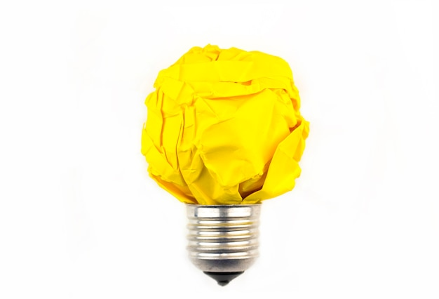 Inspiration concept crumpled paper light bulb metaphor for good idea Premium Photo