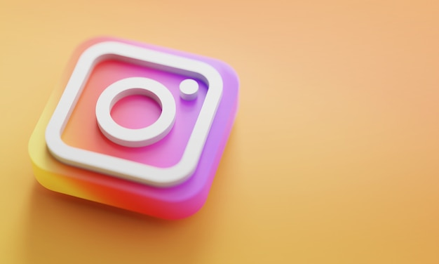 Instagramロゴ3dレンダリングクローズアップ。アカウントプロモーションテンプレート。 Premium写真