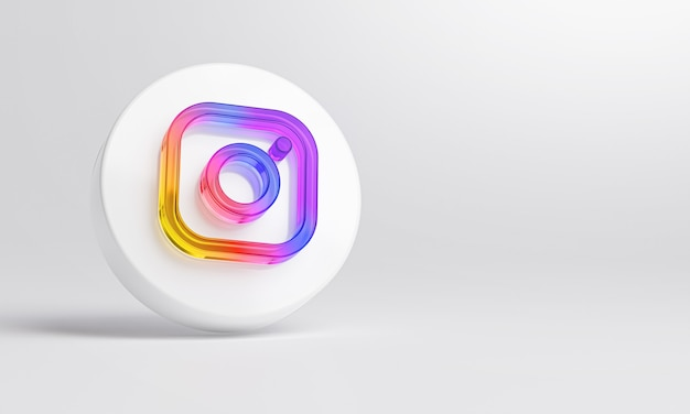 Instagram acrylic glass icon on white background 3d rendering.