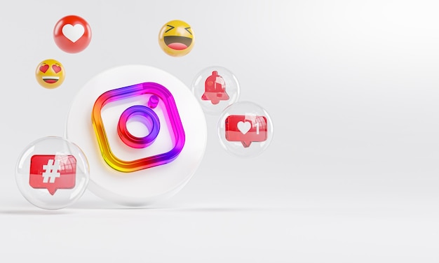 Instagram acrylic glass logo and social media icons copy space 3d Premium Photo