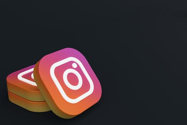 3d-рендеринг логотипа приложения instagram на черном фоне Premium Фотографии