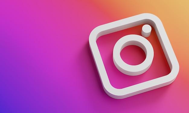 Instagramロゴ最小限のシンプルなデザインテンプレート。 copy space 3d Premium写真