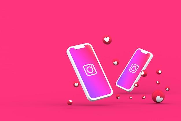 Instagram значок на экране смартфона или мобильного телефона и instagram реакции любовь 3d визуализации Premium Фотографии