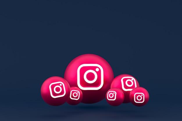 Рендеринг набора иконок instagram на синем фоне Premium Фотографии