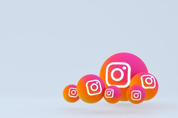 Рендеринг набора значков instagram на сером фоне Premium Фотографии