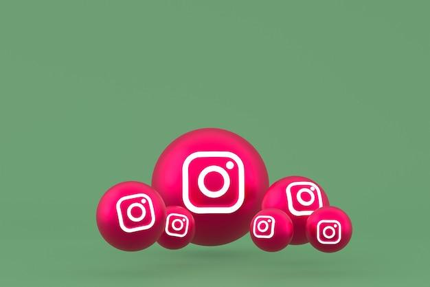Рендеринг набора иконок instagram на зеленом фоне Premium Фотографии