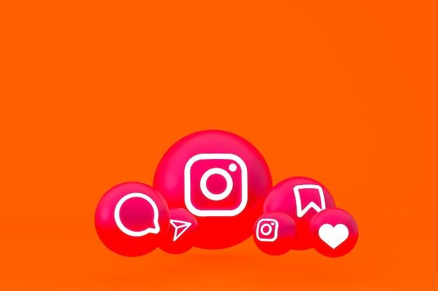 Рендеринг набора значков instagram на оранжевом фоне Premium Фотографии