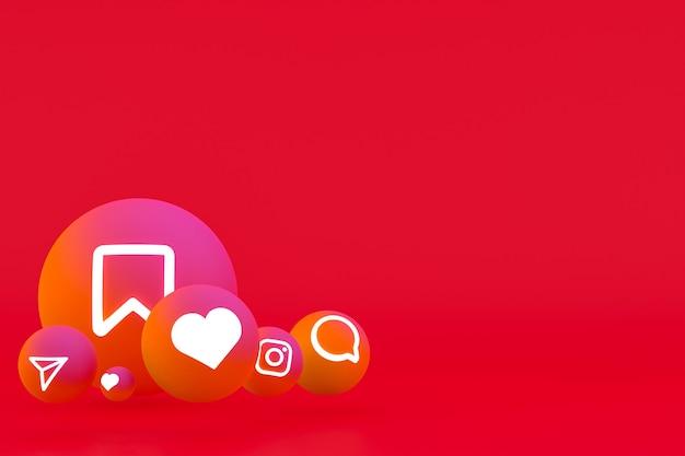 Рендеринг набора значков instagram на красном фоне Premium Фотографии