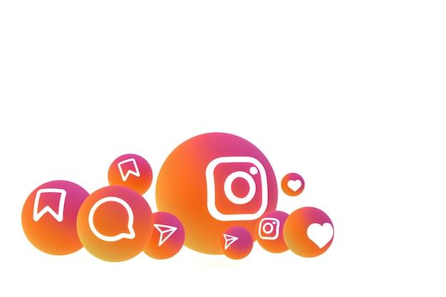Рендеринг набора значков instagram на белом фоне Premium Фотографии