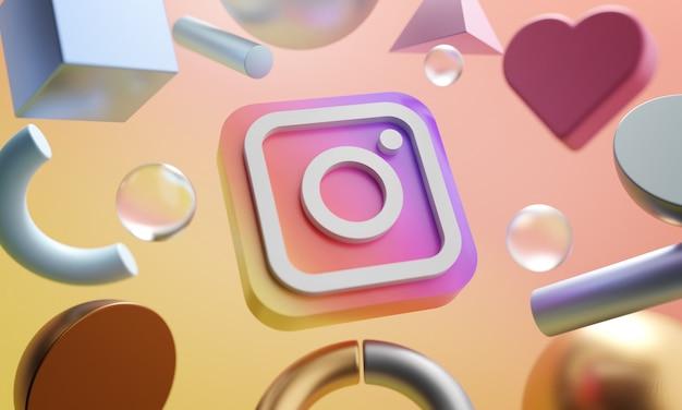 Instagram logo around 3d-рендеринга абстрактный фон формы Premium Фотографии
