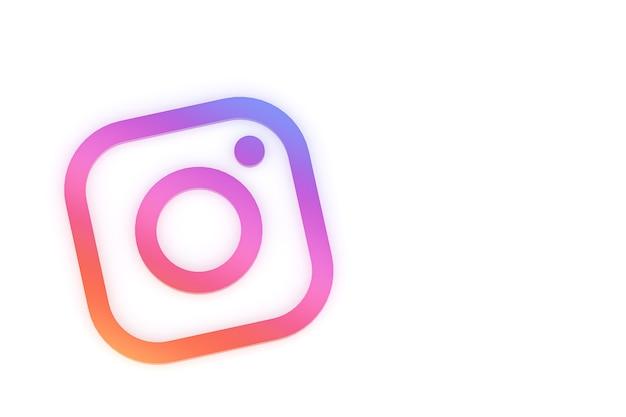 Минимальный логотип instagram 3d-рендеринга Premium Фотографии