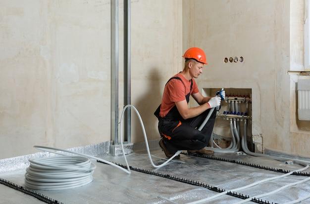 Installation of a warm floor Premium Photo