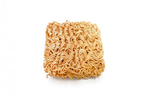 Instant noodles isolated on a white background. Premium Photo