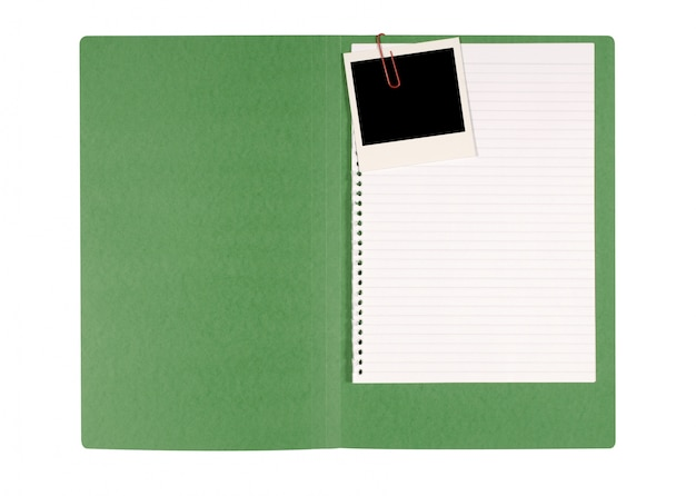 Instant photo in a green folder Free Photo
