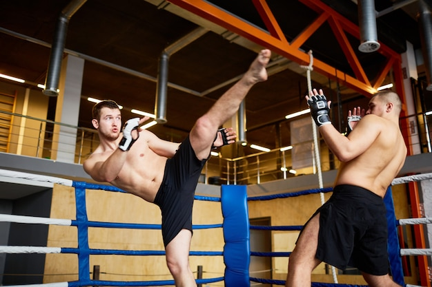 Intense fight in boxing ring Free Photo