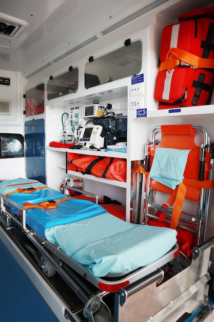 Interior of an ambulance. Premium Photo