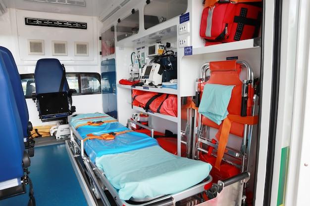 Interior of an ambulance. Premium Photo