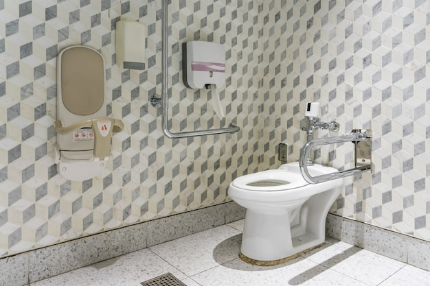 Interior of bathroom for the disabled or elderly people. Premium Photo
