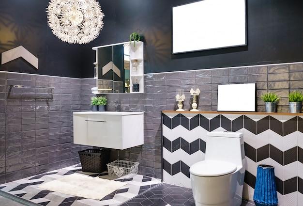 Interior of bathroom with sink basin faucet and mirror. modern design of bathroom Premium Photo