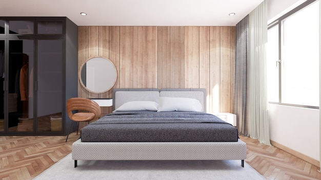 Interior of bedroom modern style has a coat cabinet beside Premium Photo