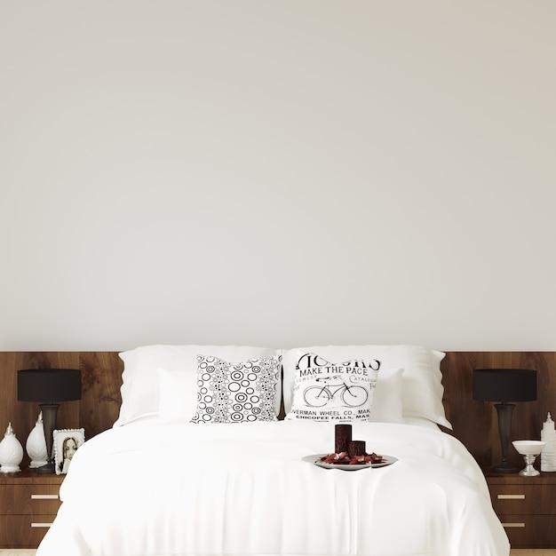 Interior bedroom wall gallery mockup Premium Photo