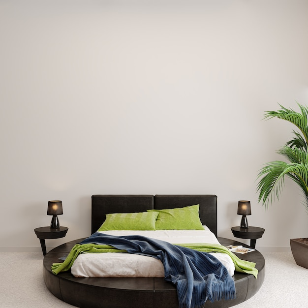 Interior of a bedroom with green plant Premium Photo