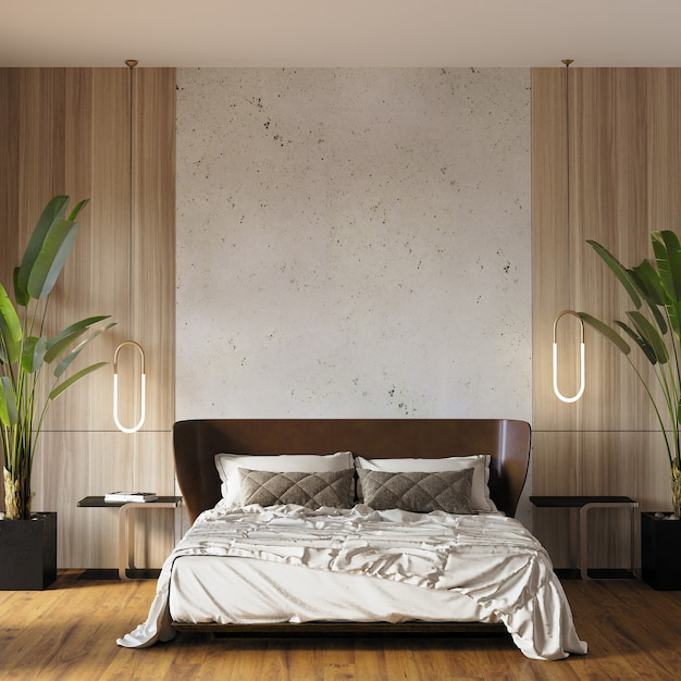 Interior of a bedroom with pillows Premium Photo