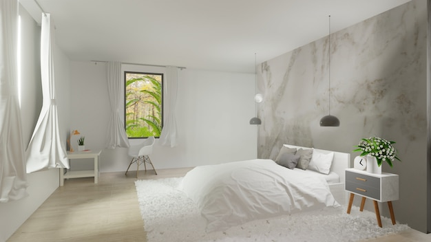 Premium Photo Interior Of Bedroom With White Marble Wall