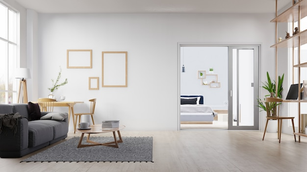 Interior blank photo frame living room with white sofa. 3d rendering. Premium Photo