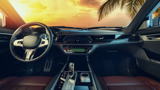 Interior of the car parked by the sea in the morning Premium Photo