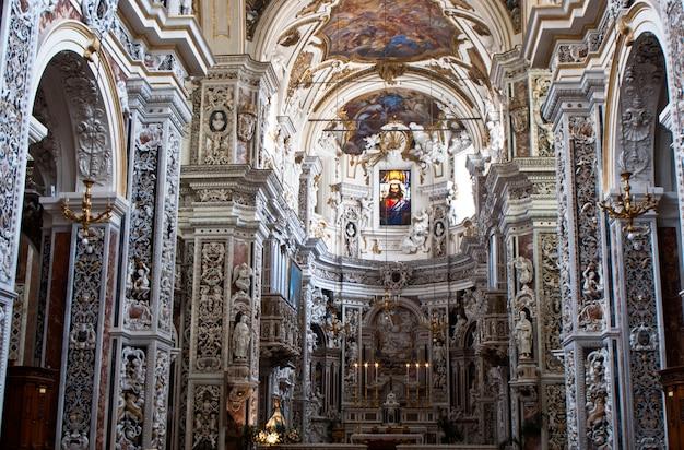 Interior of church la chiesa del gesu or casa professa in palermo, sicily Premium Photo
