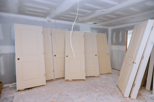 Interior construction of housing project with door installed Premium Photo