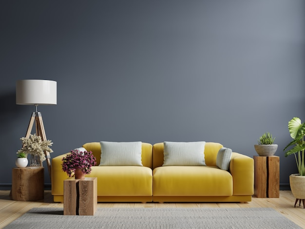 small wooden table design with yellow sofa ideas