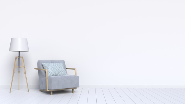 Interior design consists of a armchair and a lamp on the white background Premium Photo