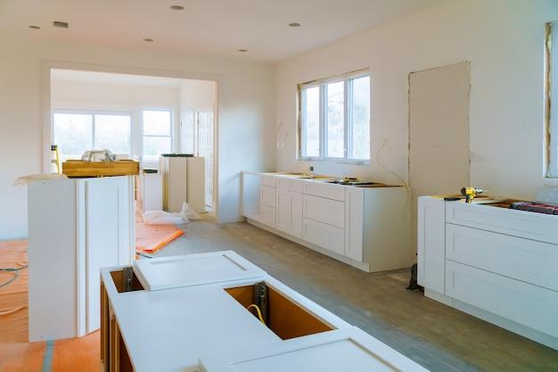 Interior design construction of a kitchen drawers of kitchen Premium Photo