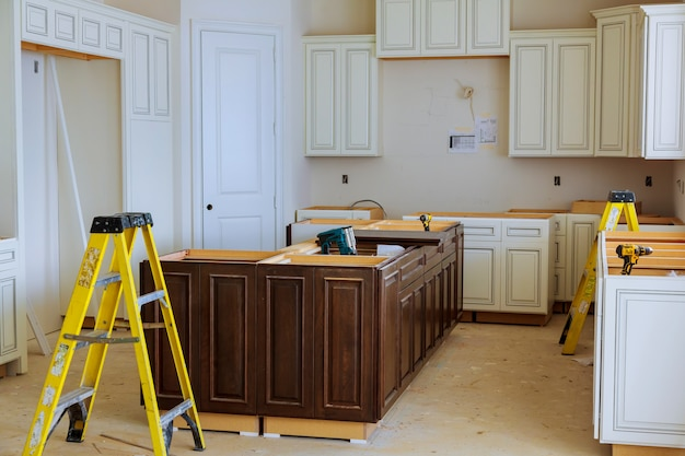 Interior design construction of a kitchen with cooker extractor Premium Photo