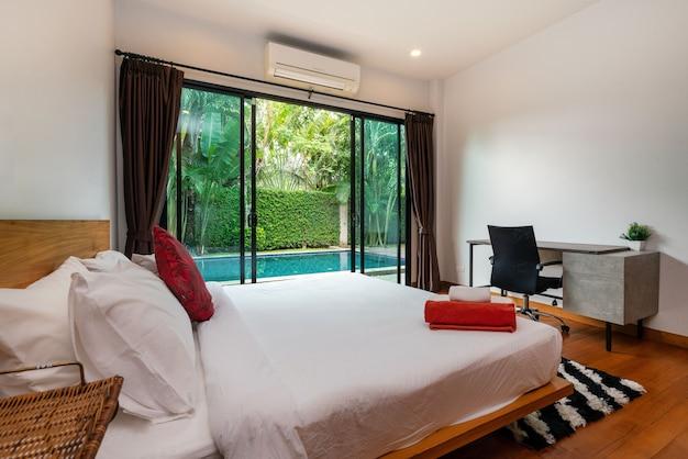 Interior design of house, home, villa and apartment feature bedding Premium Photo