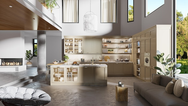 Interior design of a kitchen with kitchen cabinet and living room furniture, 3d render Premium Photo