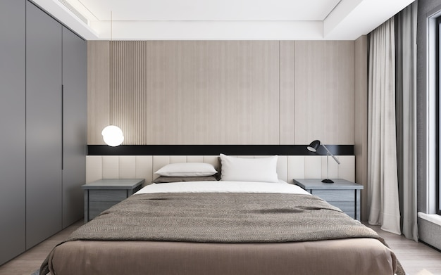 Interior design modern bedroomdaylight from window Premium Photo