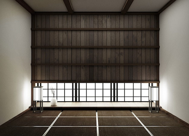 Interior design,modern empty living room with floor tatami mat and traditional japanese.3d rendering Premium Photo