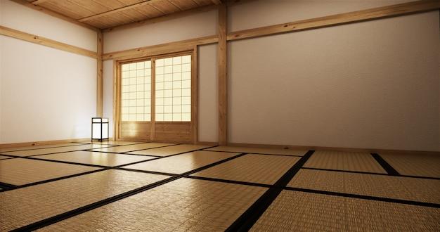 Interior design,modern living empty room with table,tatami mat floor. 3d rendering Premium Photo