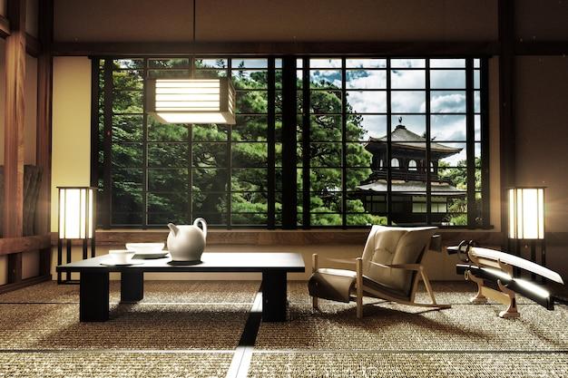 interior design modern living room with katana lamp