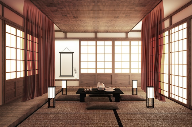 Interior design, modern living room with table, tatami floor japanese style. 3d rendering Premium Photo