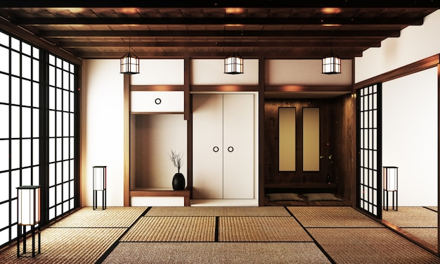 Interior design,modern living room with table on tatami mat floor japanese style. 3d rendering Premium Photo
