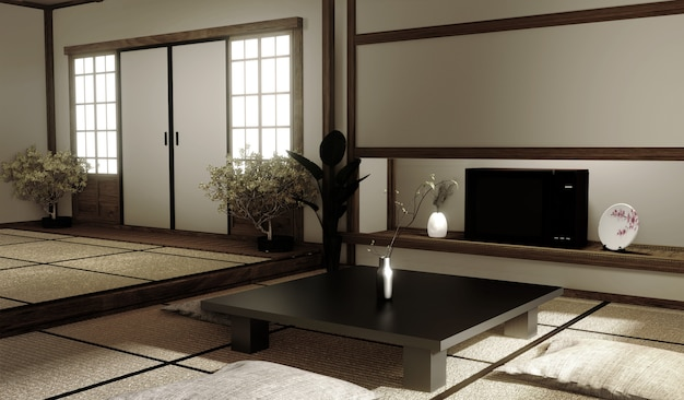 Premium Photo Interior Design Modern Living Room With Table On Tatami Mat Floor Japanese Style 3d Rendering