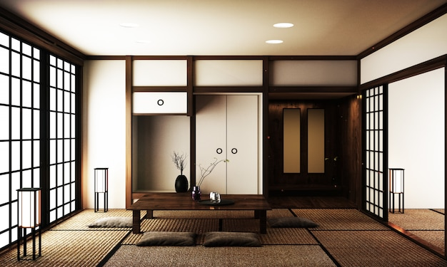 Interior design modern living room with table on tatami - Japanese style living room ...