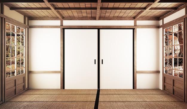 Interior design,modern living room with table on tatami mat floor japanese style Premium Photo